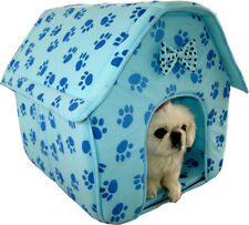 NEW Cat/Dog Blue Paw Prints Collapsible Soft  Pet Dog Cat House 3017 Blue-159