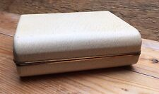 Vintage Travelling Hard Jewellery Box/Case/Cream/Retro 1950's/60's/Red Lining