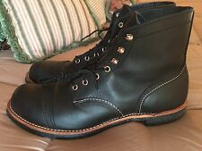 "Red Wing Heritage 8114 6"" Men's Iron Ranger Boots -Black Leather, Size 12D"