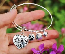 Cat Mom Memorial Expandable Wire Bangle Bracelet Sterling Silver Pltd Charms