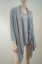 PURE DKNY Pale Grey Silk / Cotton Waterfall Cardigan With Attached Top Sz:S