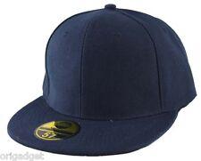 CAP RAP HIP HOP BASEBALL CAP FLAT BRIM HAT M010 blue 57 7 1/8