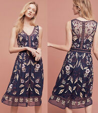 ANTHROPOLOGIE Moulinette Soeurs NWT Alicante Dress Embroidered Navy Sz 0 XS $268
