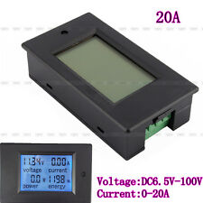 New DC6.5-100V20A 4 in 1 LCD Digital Combo Panel Meter Voltage current KWh watt