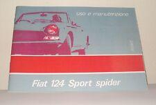 Uso e manutenzione Fiat 124 Sport Spider terza serie III series