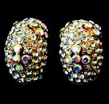 USA EARRING Rhinestone Crystal GEMSTONE Fashion Clear Gold unique simple AB