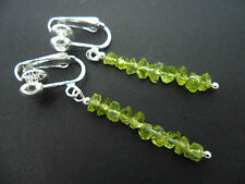 A PRETTY PAIR OF GREEN PERIDOT CHIPS  DANGLY CLIP ON  EARRINGS. NEW.