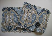 "C&F NAZIMA Quilted Cotton Table Runner 14"" x 51"" Blues, Taupe & White"
