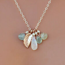 U& Sundance 14k Rose Gold Leaf Sterling Silver Chain Aquamarine Cluster Necklace