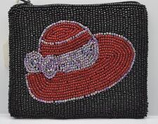 Vintage handmade brand new coin purse wallet pouch bag- black in red hat #304