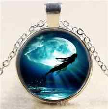 Mermaid Jump In Moon Cabochon Glass Tibet Silver Chain Pendant Necklace#4811