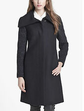 COLE HAAN Flecked Tweed Sleeve Coat Black Size:8  NWT/ $795