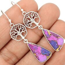 Tree Of Life - Copper Purple Turquoise Sterling Silver Earrings SE127831