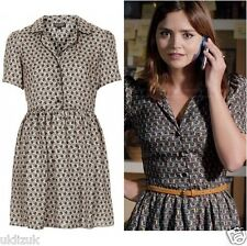 Topshop Cosplay Alt Nude Beige Black Silky Tile Print Shirt Dress - Size 14