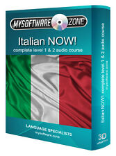 LEARN + SPEAK ITALIAN NOW! COMPLETE LEVEL 1 2 AUDIO LANGUAGE COURSE MP3 CD GIFT