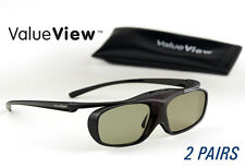 EPSON-Compatible ValueView® 3D Glasses. Rechargeable. TWO PAIRS