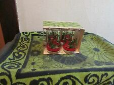 EXCELLENT CONDITION. SET OF 4 VINTAGE LIBBEY CHRISTMAS GLASSES. GREEN/ RED