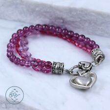 "Silver Plated - Layered Purple Acrylic Bead Heart CHARM - Bracelet (7"")"