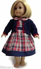 "Red & Navy Plaid Dress & Knit Sweater made for 18"" American Girl Doll Clothes"