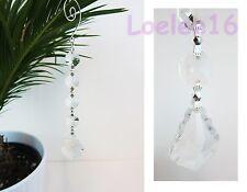 """6 Pc Crystal Hanging Jewel Clear Leaf Ornament Wedding Garland 7"""""""