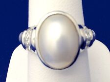 JUDITH RIPKA MABE' PEARL and CZ STERLING SILVER RING SIZE 8
