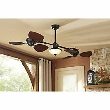 "Designer Double Ceiling Fan Harbor Twin Breeze 74"" Light Kit In/ Outdoor 6 Blade"