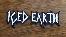 ICED EARTH,IRON ON WHITE EMBROIDERED PATCH