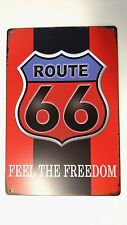 US VINTAGE RETRO SIGN ROUTE 66 FEEL THE FREEDOM - PLAQUE IN METAL ROAD 66
