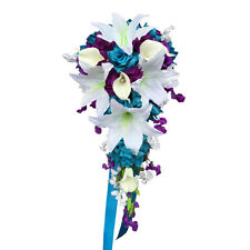 Cascade Wedding Bouquet: Turquoise Blue, White, and Purple Artificial Arrangemet