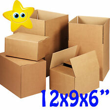"50 x MEDIUM CARDBOARD BOXES 12x9x6"" S/W  PACKAGING *ROYAL MAIL SMALL PARCEL*"