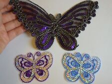 3 butterfly sequin applique patch motif iron sew on embellishment hotfix UK -02