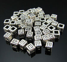 FREE lot 100PCS Crafts Tibetan silver cube bead Pendant Rondelle Jewelry spacer