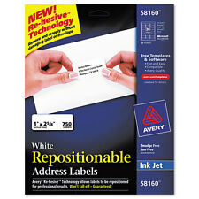 Avery  Re-hesive Inkjet Labels, 1 x 2 5/8, White, 750/Pack, BX - AVE58160