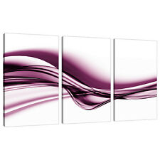 Set of Three Plum Abstract Canvas Pictures Living Room Wall Art 3032