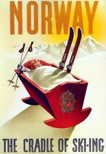 Art Poster Norway cradle of Skiing Travel   Print