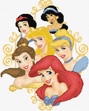 "Princesses *4 Counted Cross Stitch Kit Disney Film Characters 11"" x 14"" Free P&P"