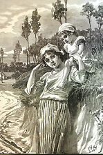 April Showers Bring MAY FLOWERS Mom and Child  - 1891 - Antique Engraving Matted