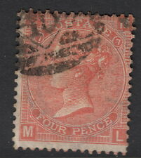 GB SURFACE PRINTED: 1865 4d vermillion plate 7 (M-L )SG 94 used