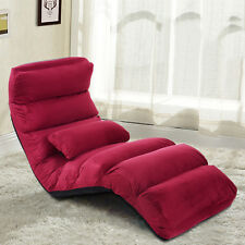 Folding Lazy Sofa Chair Stylish Sofa Couch Bed Lounge Chair Pillow Burgundy New