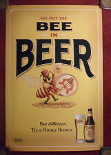 Beer Poster Dundee Honey Brown ~ We Put The Bee in Beer ~ Bee Marching Band Art