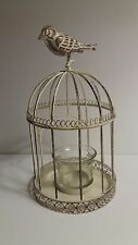 "Shabby Chic Bird Cage Votive Candle Holder ~ 8.5"" Tall ~ Distressed Metal"