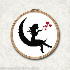 Black & White Silhouette Fairy Moon Red Hearts Counted Cross Stitch Pattern