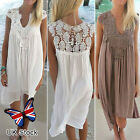Women Lace Chiffon Summer Beach Dress Loose Casual Swing Ladies Party Sleeveless