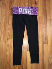 "Victorias Secret PINK Yoga Purple Black Animal Print Pants Medium M 15"" Waist"