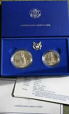 1986 BU Statue of Liberty 2 Coin Silver Dollar and Clad Half US Mint Box and COA