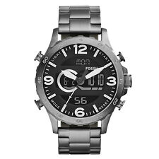 Fossil Men's JR1491 Nate Analog/Digital Chronograph Smoke Stainless Steel Watch
