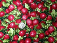Fresh RADISHES Veggies Radish Food Jar Novelty Quilt Fabric Fat Quarter FQ FQs