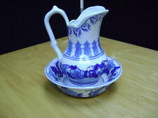 (2) Piece Reproduction Victoria  Ware Ironstone small pitcher with bowl
