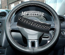 FOR VW CADDY FACELIFT 2010+ITALIAN LEATHER STEERING WHEEL COVER WHITE STITCH NEW