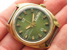 Vintage soviet SLAVA Automatic watch Gilt Case, Gorgeous Green dial *SERVICED*
